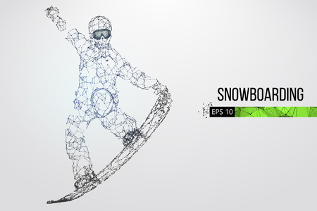 Silhouette of a snowboarder jumping isolated. Dots, lines, triangles, text, color effects and background on a separate layers, color can be changed in one click. Vector illustration