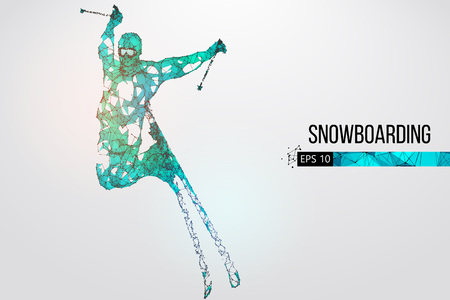 Silhouette of a skier jumping isolated. Vector illustration Stock fotó - 114684923