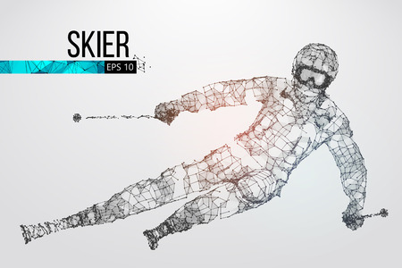 Silhouette of a skier jumping isolated. Dots, lines, triangles, text, color effects and background on a separate layers, color can be changed in one click. Vector illustration Vettoriali