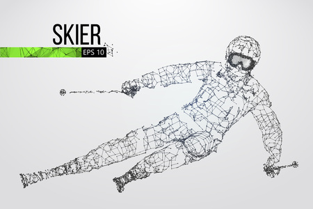 Silhouette of a skier jumping isolated. Dots, lines, triangles, text, color effects and background on a separate layers, color can be changed in one click. Vector illustration Illustration