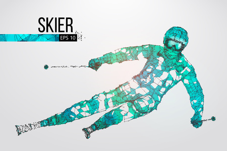 Silhouette of a skier jumping isolated. Dots, lines, triangles, text, color effects and background on a separate layers, color can be changed in one click. Vector illustration