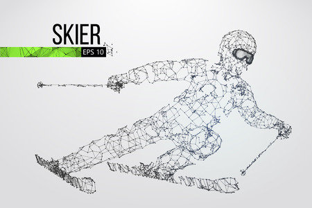 Silhouette of a skier jumping isolated. Dots, lines, triangles, text, color effects and background on a separate layers, color can be changed in one click. Vector illustration Stock Illustratie