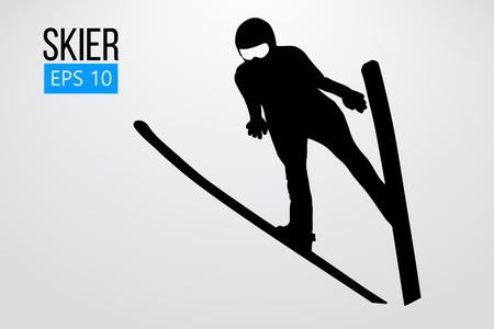 Silhouette des Skifahrers springen isoliert. Vektor-Illustration