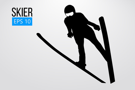 Silhouette of skier jumping isolated. Vector illustration Stock fotó - 114684928