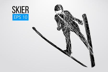 Silueta de un esquiador saltando aislado. Fondo y texto en una capa separada, el color se puede cambiar con un clic. Ilustración vectorial Ilustración de vector