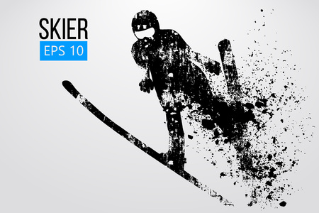 Silhouette of skier jumping isolated. Vector illustration Banque d'images - 114684934
