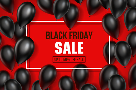 Black Friday Sale poster with Balloons on red background. Vector illustration.