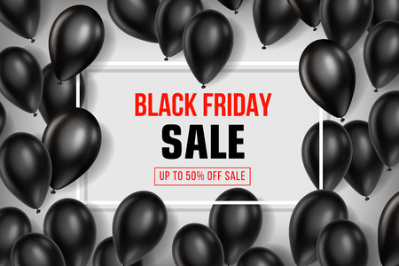Black Friday Sale poster with Balloons on white background. Vector illustration. Illustration