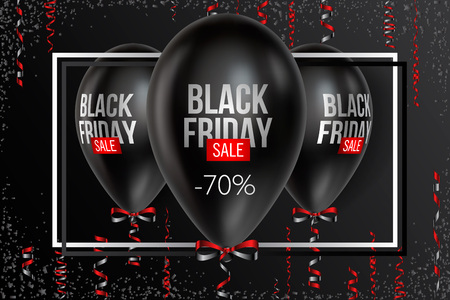 Black Friday Sale poster with Balloons on background. Background, balloons and text on a separate layer, color can be changed in one click. Vector illustration.