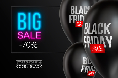 Black Friday Sale poster with Balloons on background. Vector illustration. Фото со стока - 114695138
