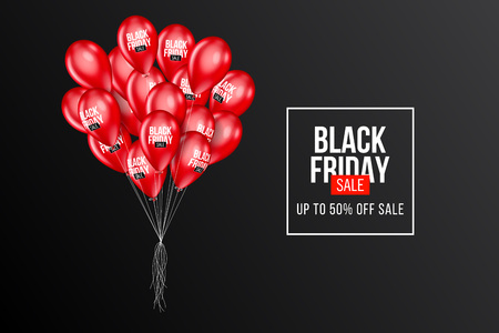 Black Friday Sale poster with Balloons on background. Vector illustration. Standard-Bild - 114695144