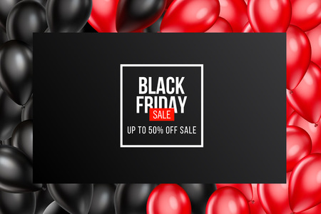 Black Friday Sale poster with Balloons on background. Vector illustration.