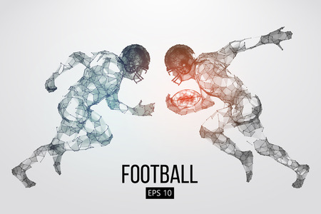 Silhouette of a football player. Dots, lines, triangles, text, color effects and background on a separate layers, color can be changed in one click. Vector illustration Stock Vector - 111431905