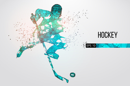 Silhouette of a hockey player from particles, lines and triangles. Dots, lines, triangles text color effects and background on a separate layers, color can be changed in one click. Vector illustration