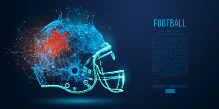 Abstract American football helmet from particles, lines and triangles on blue background. Rugby. All elements on a separate layers, color can be changed to any other in one click. Vector illustration