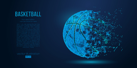Abstract basketball ball from particles, lines and triangles on blue background. All elements on a separate layers, color can be changed to any other in one click. Vector illustration Illustration