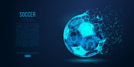 Abstract silhouette of a soccer ball from particles, lines and triangles on blue background. Football. Elements on a separate layers color can be changed to any other in one click. Vector illustration Ilustracje wektorowe