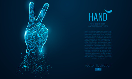 Abstract silhouette of a hand two fingers, victory symbol from particles triangles on blue background. Elements on a separate layers color can be changed to any other in one click. Vector illustration