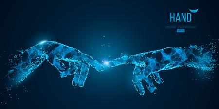 Astratte due mani che toccano momenti da particelle, linee e triangoli su sfondo blu. Tecnologia. Gli elementi su un colore di livelli separati possono essere cambiati in qualsiasi altro con un clic illustrazione vettoriale Vettoriali
