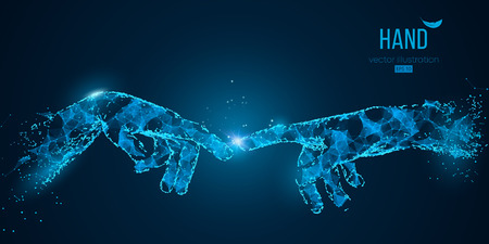 Streszczenie dwie ręce dotykające chwile z cząstek, linii i trójkątów na niebieskim tle. Technologia. Elementy na osobnych warstwach koloru można zmienić na dowolny inny za pomocą ilustracji wektorowych jednym kliknięciem Ilustracje wektorowe