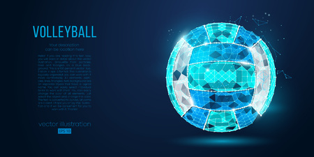 Abstract silhouette of a volleyball ball from particles, lines and triangles on blue background. Neon light. Elements on a separate layers color can be changed in one click. Vector illustration Illustration