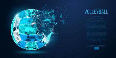 Silueta abstracta de una pelota de voleibol de partículas, líneas y triángulos sobre fondo azul. Luz de neón. Los elementos de un color de capas independientes se pueden cambiar con un solo clic. Ilustración vectorial