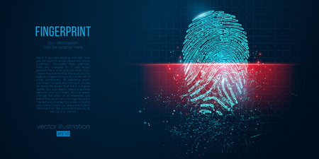 Concept of digital security, electronic fingerprint on scanning screen. Low poly wire outline geometric vector illustration. Particles, lines and triangles on blue background. Neon light. Çizim