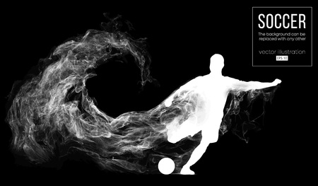 Abstract silhouette of a football player on dark black background from particles. Soccer player running jumping with ball. World and european league. Background can be changed to any other vector