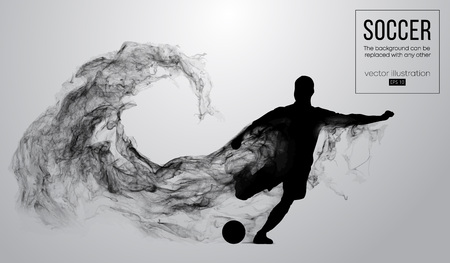 Abstract silhouette of a football player on the white background from particles. Soccer player running jumping with ball. World and european league. Background can be changed to any other. Vector