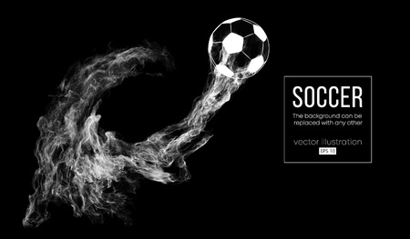 Abstract silhouette of a football ball on dark black background from particles. Soccer ball. World and european league. Background can be changed to any other vector illustration Illustration