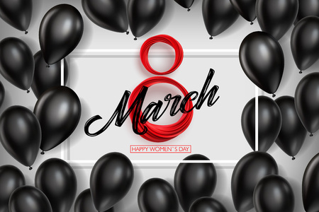 Banner for the International Womens Day. Black balloons and red March 8 on the white background. Vector illustration Illustration