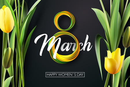 Banner for the International Womens Day. yellow tulips and yellow, green March 8 on the dark, black background. Vector illustration