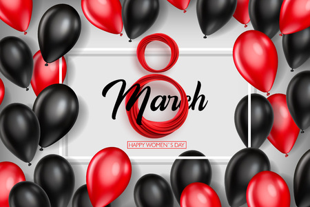 Banner for the International Womens Day. Black and red balloons with red March 8 on the white background. Vector illustration Çizim