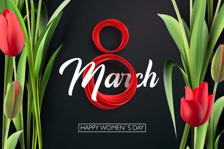 Banner for the International Women's Day. Red tulips and red March 8 on the dark, black background. Vector illustration