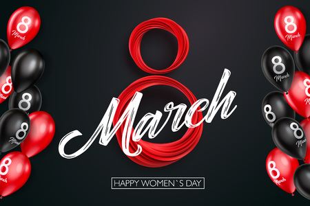 Banner for the International Womens Day. Black and red balloons with red March 8 on the dark, black background. Vector illustration