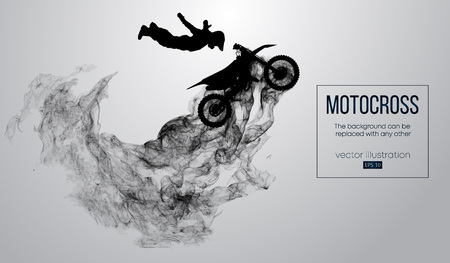Abstract silhouette of a motocross rider on white background from particles, dust, smoke, steam. Motocross rider jumping and performs a trick. Background can be changed to any other. Vector Stock Vector - 115374678