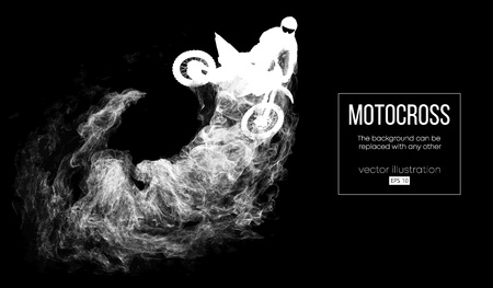 Abstract silhouette of a motocross rider on dark black background from particles, dust, smoke, steam. Motocross rider jumping and performs a trick. Background can be changed to any other. Vector