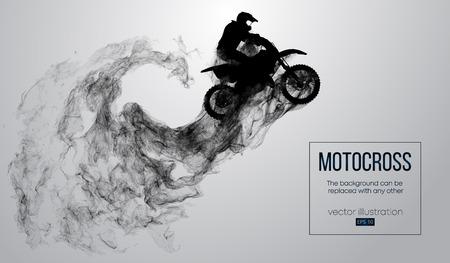 Siluetta astratta di un pilota di motocross su priorità bassa bianca da particelle, polvere, fumo, vapore. Il pilota di motocross salta ed esegue un trucco. Lo sfondo può essere cambiato in qualsiasi altro. Vettore