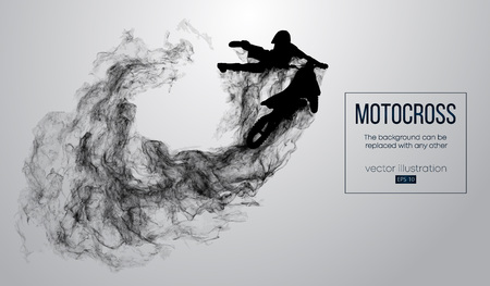 Abstract silhouette of a motocross rider on white background from particles, dust, smoke, steam. Motocross rider jumping and performs a trick. Background can be changed to any other. Vector