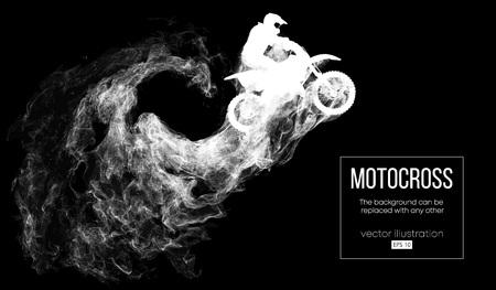 Siluetta astratta di un pilota di motocross su sfondo nero scuro da particelle, polvere, fumo, vapore. Il pilota di motocross salta ed esegue un trucco. Lo sfondo può essere cambiato in qualsiasi altro. Vettore Vettoriali