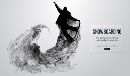 Abstract silhouette of a snowboarder jumping isolated on white background from particles. Snowboarder jumping and performs a trick. Background can be changed to any other. Vector illustration Illustration