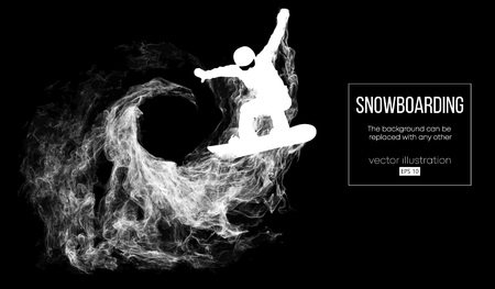 Abstract silhouette of a snowboarder jumping isolated on dark, black background from particles. Snowboarder jumping and performs a trick. Background can be changed to any other. Vector illustration