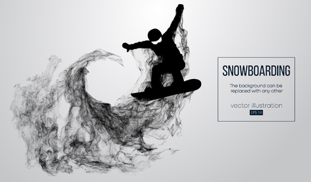 Abstract silhouette of a snowboarder jumping isolated on white background from particles. Snowboarder jumping and performs a trick. Background can be changed to any other. Vector illustration Ilustrace