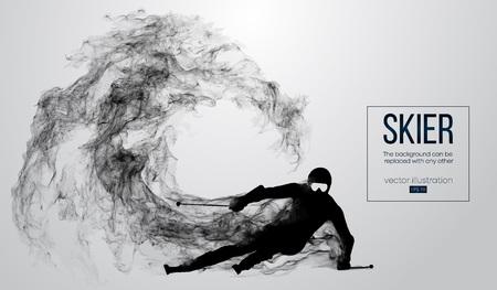 Silueta abstracta de un esquiador aislado sobre fondo blanco de partículas, polvo, humo, vapor. Esquiador talla y realiza un truco. El fondo se puede cambiar a cualquier otro. Ilustración vectorial