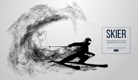 Abstract silhouette of a skier isolated on white background from particles, dust, smoke, steam. Skier carving and performs a trick. Background can be changed to any other. Vector illustration