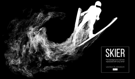 Abstract silhouette of a skier isolated on dark, black background from particles, dust, smoke, steam. Skier jumping and performs a trick. Background can be changed to any other. Vector illustration Illustration