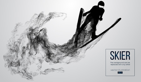 Abstract silhouette of a skier isolated on white background from particles, dust, smoke, steam. Skier jumping and performs a trick. Background can be changed to any other. Vector illustration Çizim