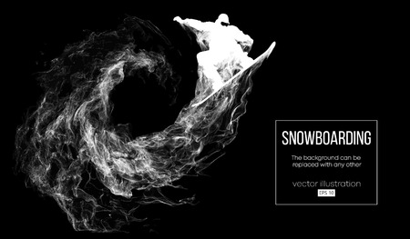 Abstract silhouette of a snowboarder jumping isolated on dark, black background from particles. Snowboarder jumping and performs a trick. Background can be changed to any other. Vector illustration Stok Fotoğraf - 126067796