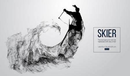Silhouette abstraite d'un skieur isolé sur fond blanc de particules, poussière, fumée, vapeur. Skieur sautant et exécute un tour. L'arrière-plan peut être changé en n'importe quel autre. Illustration vectorielle