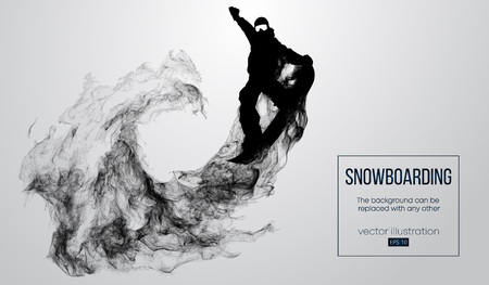 Abstract silhouette of a snowboarder jumping isolated on white background from particles. Snowboarder jumping and performs a trick. Background can be changed to any other. Vector illustration Çizim